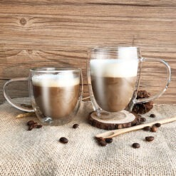 Duplafalú üveg kávés bögre