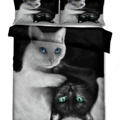 3d cicák ágyneműhuzat (fekete és fehér cica)